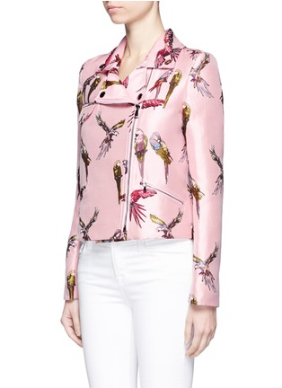 Front View - Click To Enlarge - Giamba - Parrot jacquard biker jacket