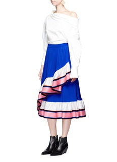 Emilio PucciAsymmetric ruffle silk satin skirt