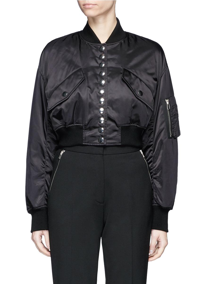 Cropped satin bomber jacket by Alexander Wang