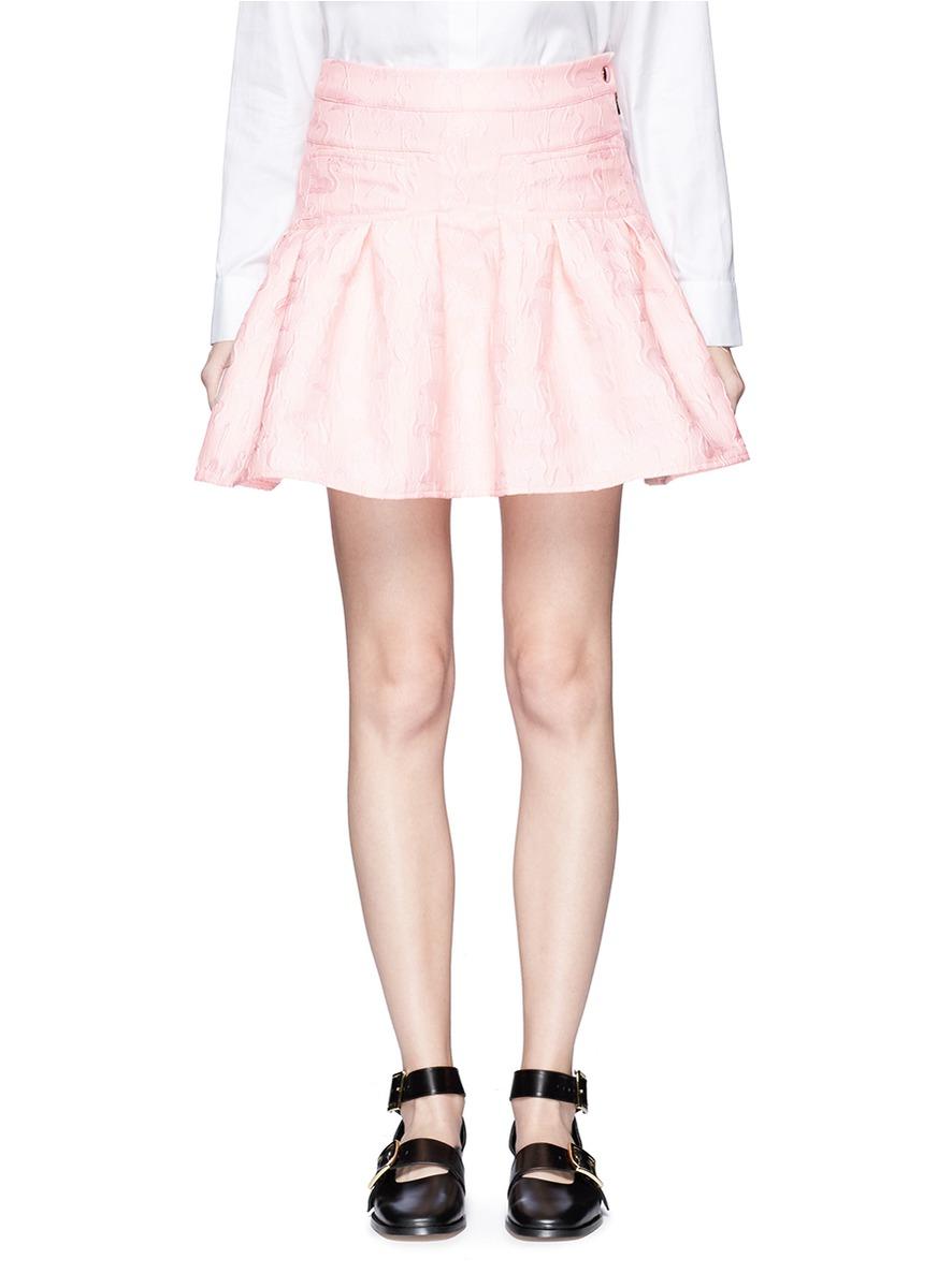 Flamingo jacquard ruffle mini skirt by Giamba