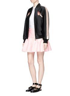 GiambaFlamingo jacquard ruffle mini skirt