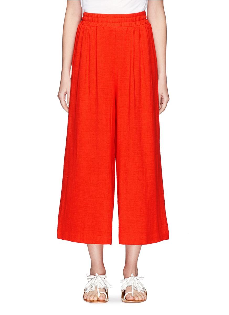 Organic cotton pleated beach pants by Mara Hoffman