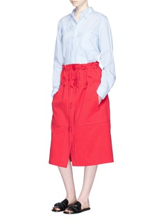 Ports 1961Drawstring cotton-silk twill skirt