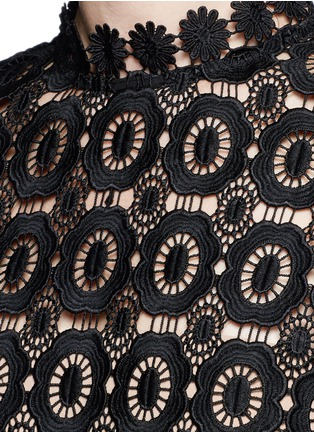 Detail View - Click To Enlarge - self-portrait - 'Lace Military' pleated skirt floral crochet dress