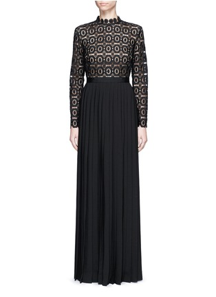 Main View - Click To Enlarge - self-portrait - 'Lace Military' pleated skirt floral crochet dress