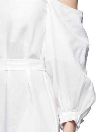 Detail View - Click To Enlarge - Lisa Marie Fernandez - Balloon sleeve off-shoulder linen maxi dress
