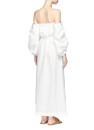 Back View - Click To Enlarge - Lisa Marie Fernandez - Balloon sleeve off-shoulder linen maxi dress