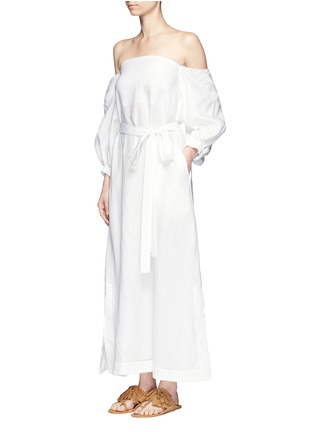 Front View - Click To Enlarge - Lisa Marie Fernandez - Balloon sleeve off-shoulder linen maxi dress