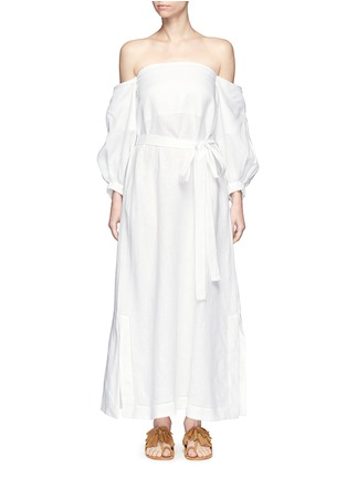 Main View - Click To Enlarge - Lisa Marie Fernandez - Balloon sleeve off-shoulder linen maxi dress