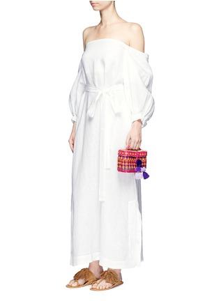 Figure View - Click To Enlarge - Lisa Marie Fernandez - Balloon sleeve off-shoulder linen maxi dress