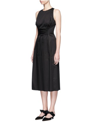 Front View - Click To Enlarge - The Row - 'Lao' lace-up waist cotton poplin dress