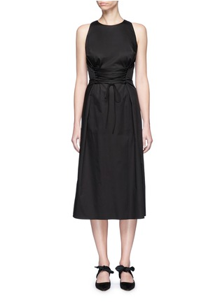 Main View - Click To Enlarge - The Row - 'Lao' lace-up waist cotton poplin dress