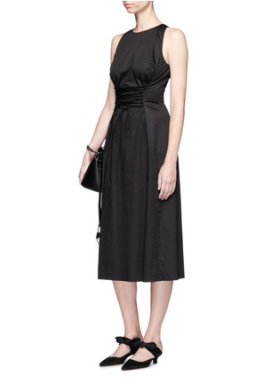 Figure View - Click To Enlarge - The Row - 'Lao' lace-up waist cotton poplin dress