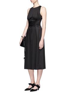 The Row'Lao' lace-up waist cotton poplin dress