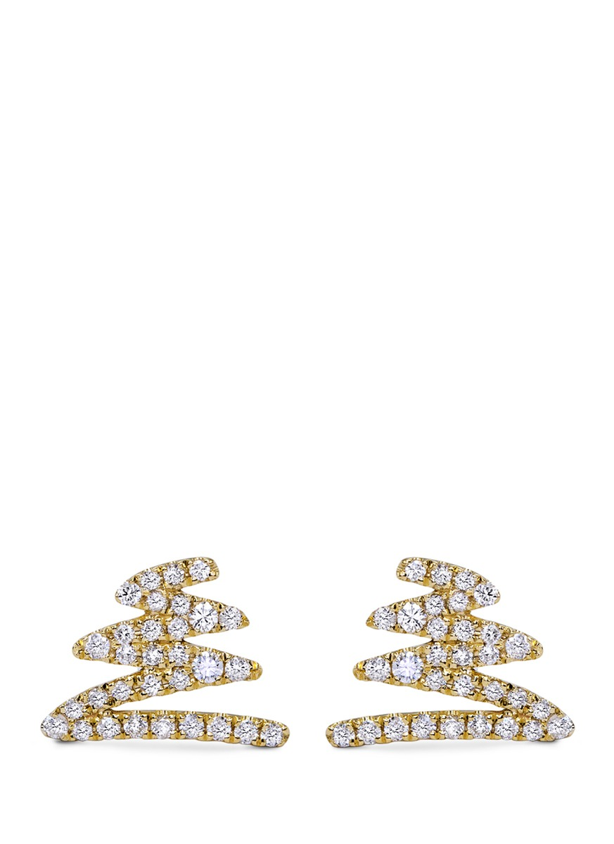 Zigzag diamond 18k yellow gold earrings by Khai Khai