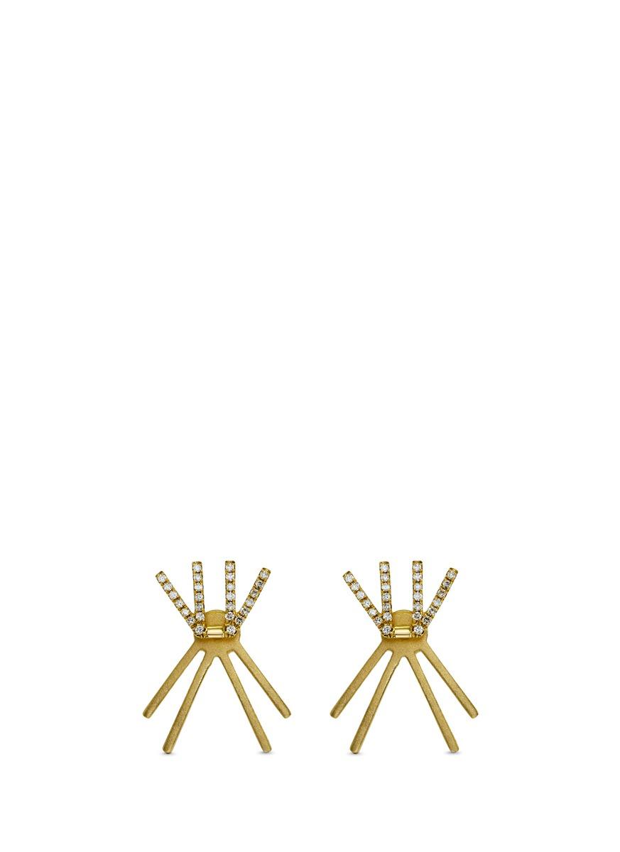 Linear W diamond 18k yellow gold jacket earrings by Khai Khai