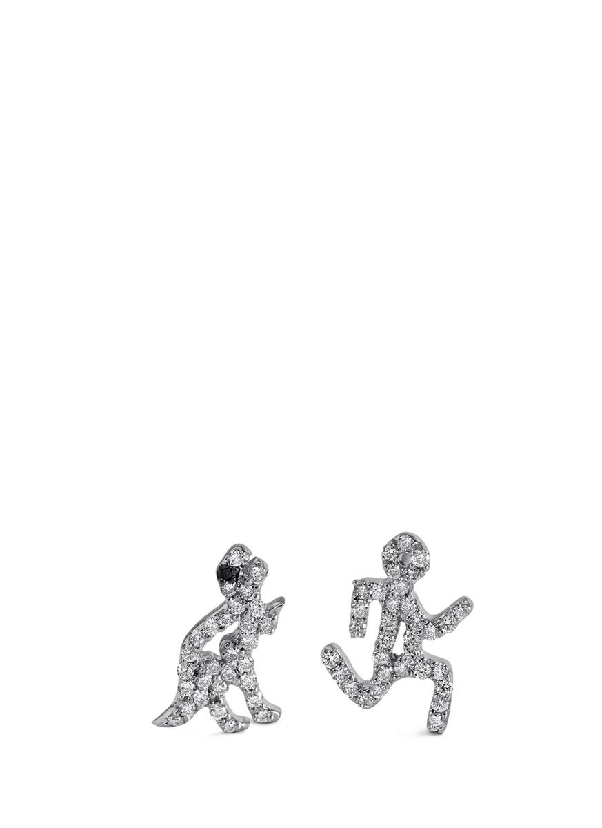 Running Man diamond 18k white gold earrings by Khai Khai