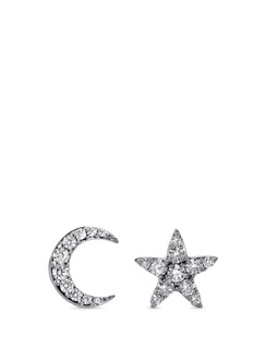 Khai Khai 'Moon and Star' diamond 18k white gold earrings