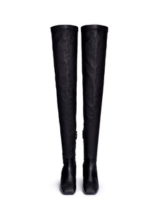 Balenciaga Inclined heel thigh high leather boots