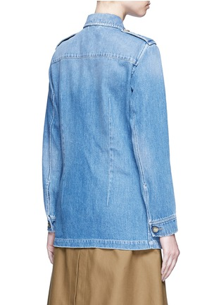 Back View - Click To Enlarge - Closed - 'Blade' denim military long jacket