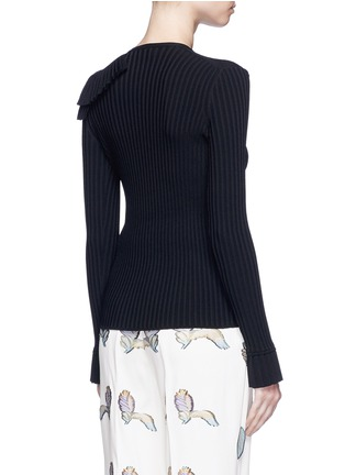 Back View - Click To Enlarge - Emilio Pucci - Ruffle cutout shoulder rib knit top