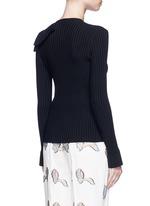 Ruffle cutout shoulder rib knit top