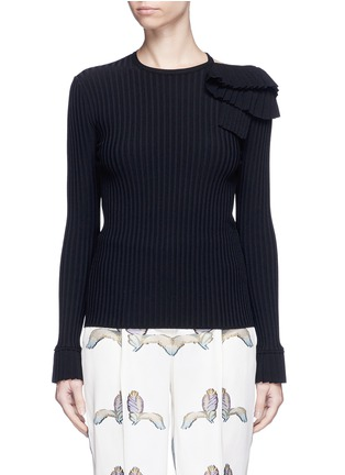 Main View - Click To Enlarge - Emilio Pucci - Ruffle cutout shoulder rib knit top