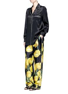 Dolce & GabbanaTulip print silk twill pyjama pants