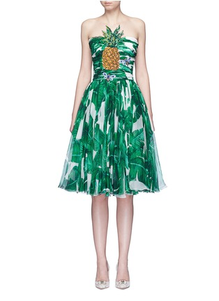 Main View - Click To Enlarge - Dolce & Gabbana - Pineapple embellished banana leaf print strapless dress