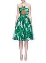 Pineapple embellished banana leaf print strapless dress