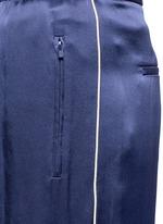 Piped trim silk satin pyjama pants