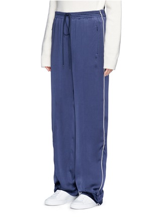 Front View - Click To Enlarge - Chloé - Piped trim silk satin pyjama pants