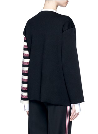 Back View - Click To Enlarge - Ports 1961 - Stripe knit sash tie kimono wrap jacket