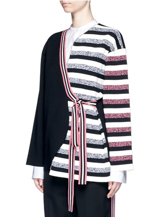 Front View - Click To Enlarge - Ports 1961 - Stripe knit sash tie kimono wrap jacket