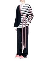 Stripe knit sash tie kimono wrap jacket