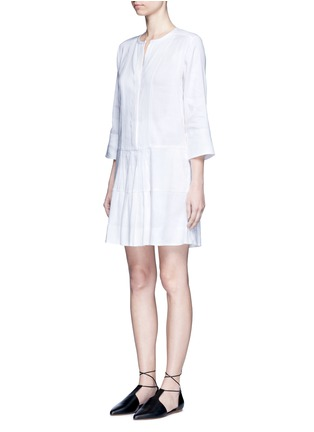 Front View - Click To Enlarge - Vince - Drop waist pleat front linen blend dress