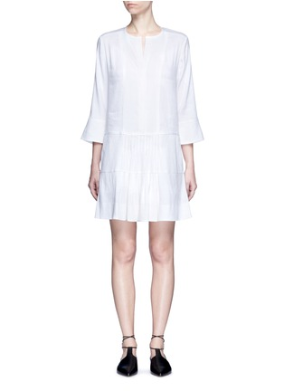 Main View - Click To Enlarge - Vince - Drop waist pleat front linen blend dress