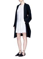 Drop waist pleat front linen blend dress