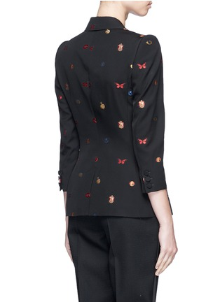 Back View - Click To Enlarge - Alexander McQueen - Fil coupé cropped sleeve jacket