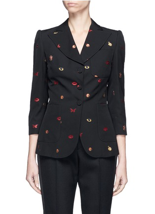 Main View - Click To Enlarge - Alexander McQueen - Fil coupé cropped sleeve jacket