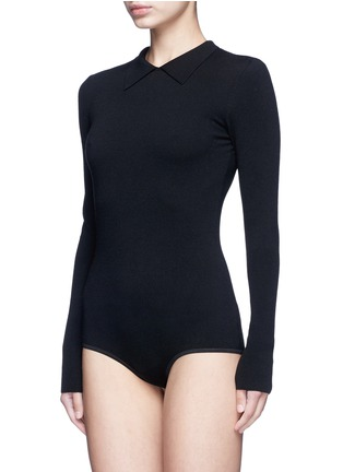 Front View - Click To Enlarge - Alaïa - Point collar wool blend knit bodysuit