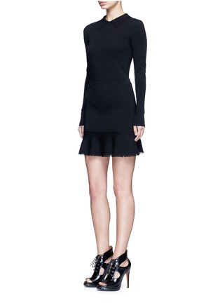 Figure View - Click To Enlarge - Alaïa - Point collar wool blend knit bodysuit