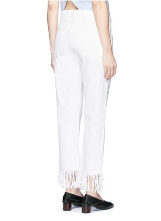 Back View - Click To Enlarge - 3x1 - 'WM3' fringe cuff cropped jeans
