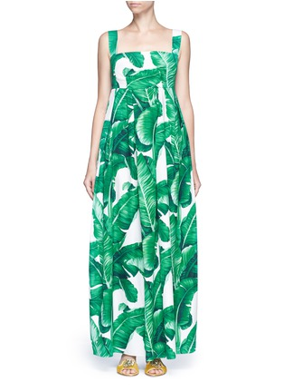Dolce & Gabbana - Banana leaf print poplin maxi dress