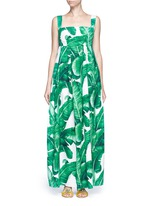 Banana leaf print poplin maxi dress