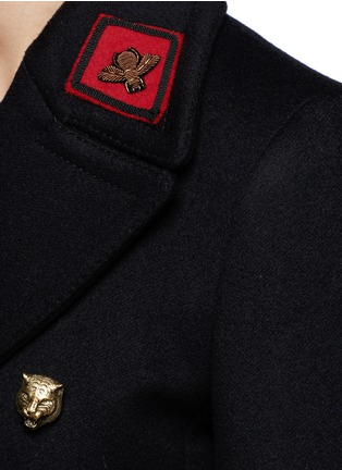 Detail View - Click To Enlarge - Gucci - Tiger head button embroidered wool coat