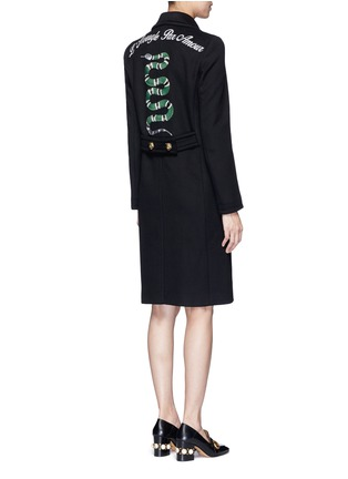Back View - Click To Enlarge - Gucci - Tiger head button embroidered wool coat
