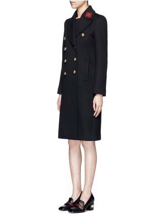 Front View - Click To Enlarge - Gucci - Tiger head button embroidered wool coat