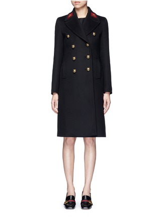 Main View - Click To Enlarge - Gucci - Tiger head button embroidered wool coat