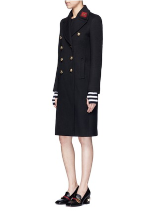 Figure View - Click To Enlarge - Gucci - Tiger head button embroidered wool coat
